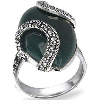Vintega black onyx marcasite engagement rings